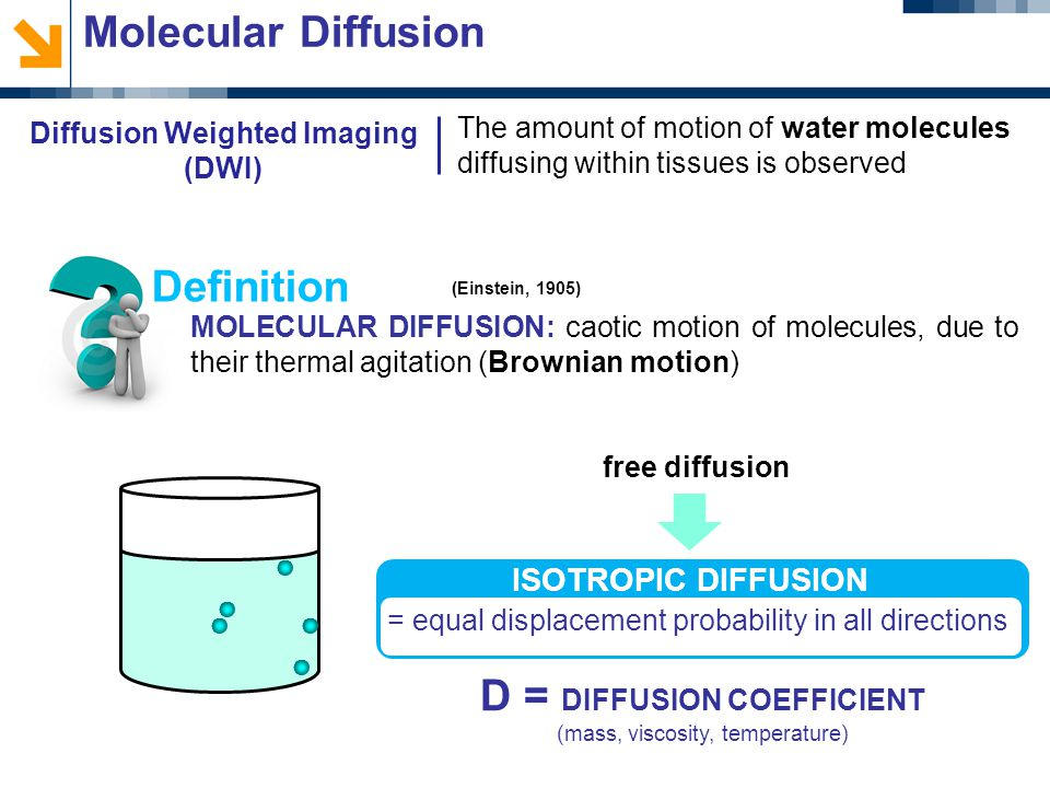 The amount of motion of water molecules diffusing within tissues is observed Molecular Diffusion MOLECULAR DIFFUSION: caotic motion of molecules, due to their thermal agitation (Brownian motion) Definition (Einstein, 1905) free diffusion = equal displacement probability in all directions ISOTROPIC DIFFUSION D = DIFFUSION COEFFICIENT (mass, viscosity, temperature) Diffusion Weighted Imaging (DWI)