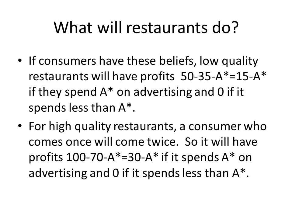 What will restaurants do.