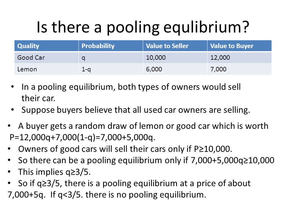 Is there a pooling equlibrium.