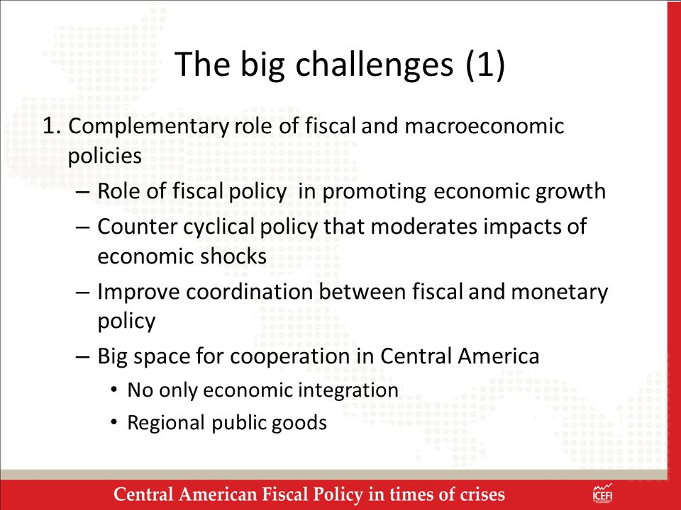 1. Complementary role of fiscal and macroeconomic policies – Role of fiscal policy in promoting economic growth – Counter cyclical policy that moderat