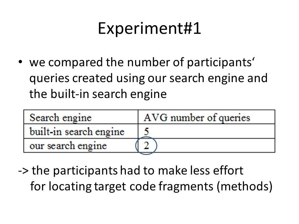 Experiment#1 we compared the number of participants' queries created using our search engine and the built-in search engine -> the participants had to