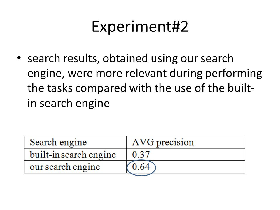 Experiment#2 search results, obtained using our search engine, were more relevant during performing the tasks compared with the use of the built- in s