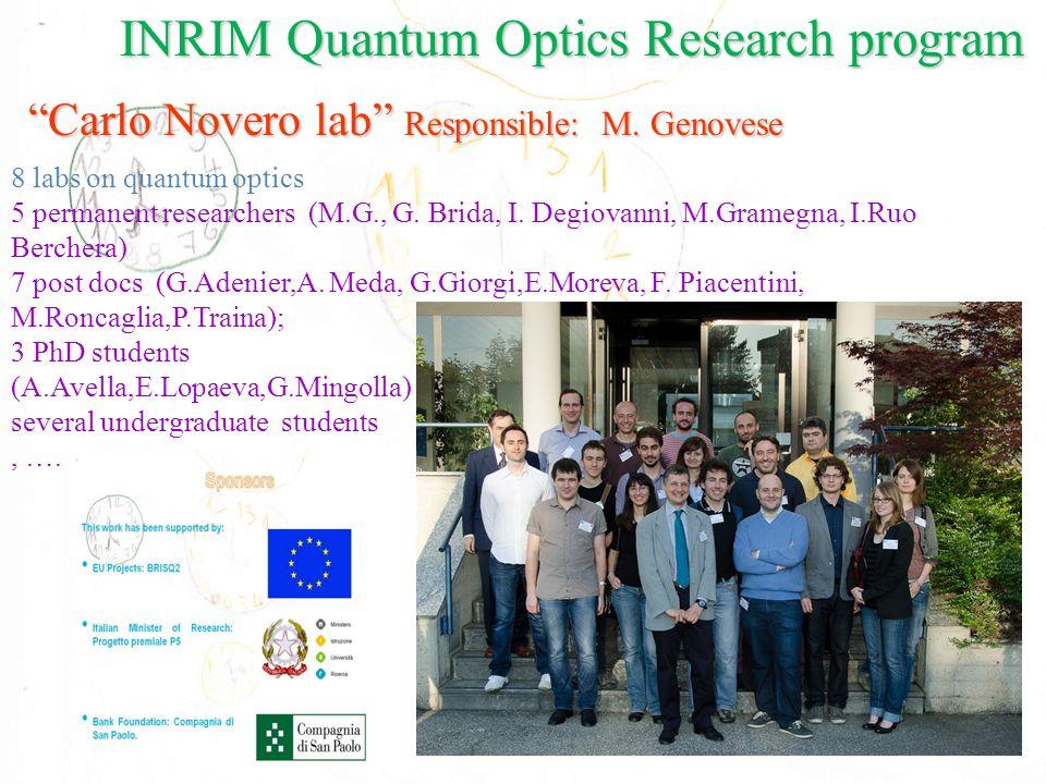 8 labs on quantum optics 5 permanent researchers (M.G., G.