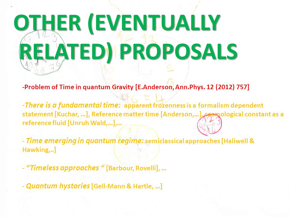 OTHER (EVENTUALLY RELATED) PROPOSALS RELATED) PROPOSALS -Problem of Time in quantum Gravity [E.Anderson, Ann.Phys.