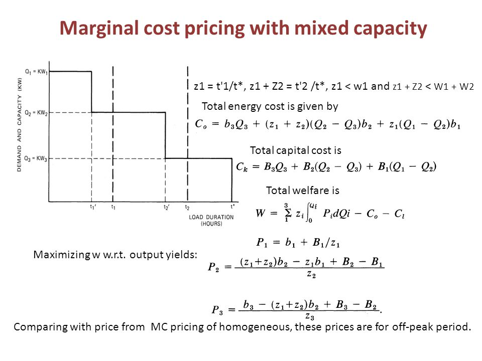 Marginal cost pricing with mixed capacity z1 = t 1/t*, z1 + Z2 = t 2 /t*, z1 < w1 and z1 + Z2 < W1 + W2 Total energy cost is given by Total capital cost is Total welfare is Maximizing w w.r.t.