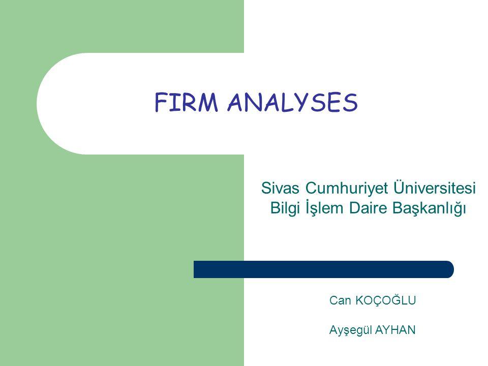 FIRM ANALYSES Sivas Cumhuriyet Üniversitesi Bilgi İşlem Daire Başkanlığı Can KOÇOĞLU Ayşegül AYHAN