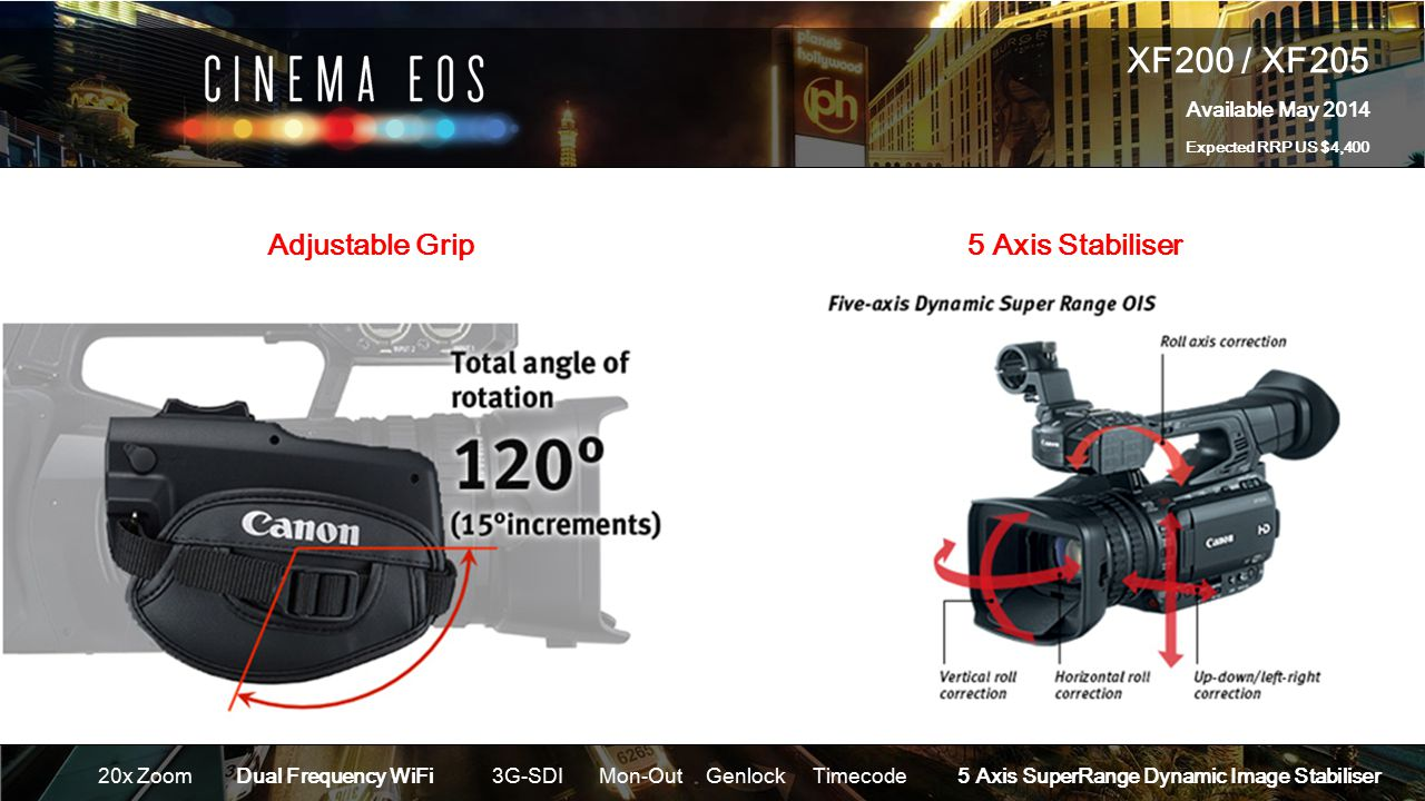XF200 / XF205 Available May 2014 Expected RRP US $4,400 20x ZoomDual Frequency WiFi 3G-SDIMon-OutGenlockTimecode 5 Axis SuperRange Dynamic Image Stabiliser Adjustable Grip5 Axis Stabiliser
