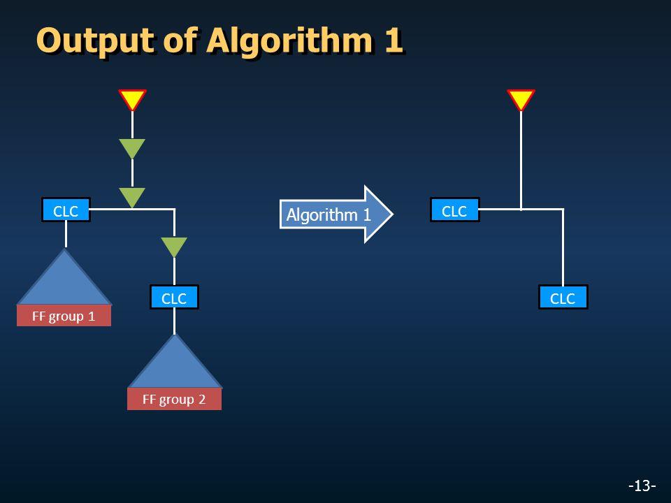-13- Output of Algorithm 1 CLC FF group 1 CLC FF group 2 CLC Algorithm 1