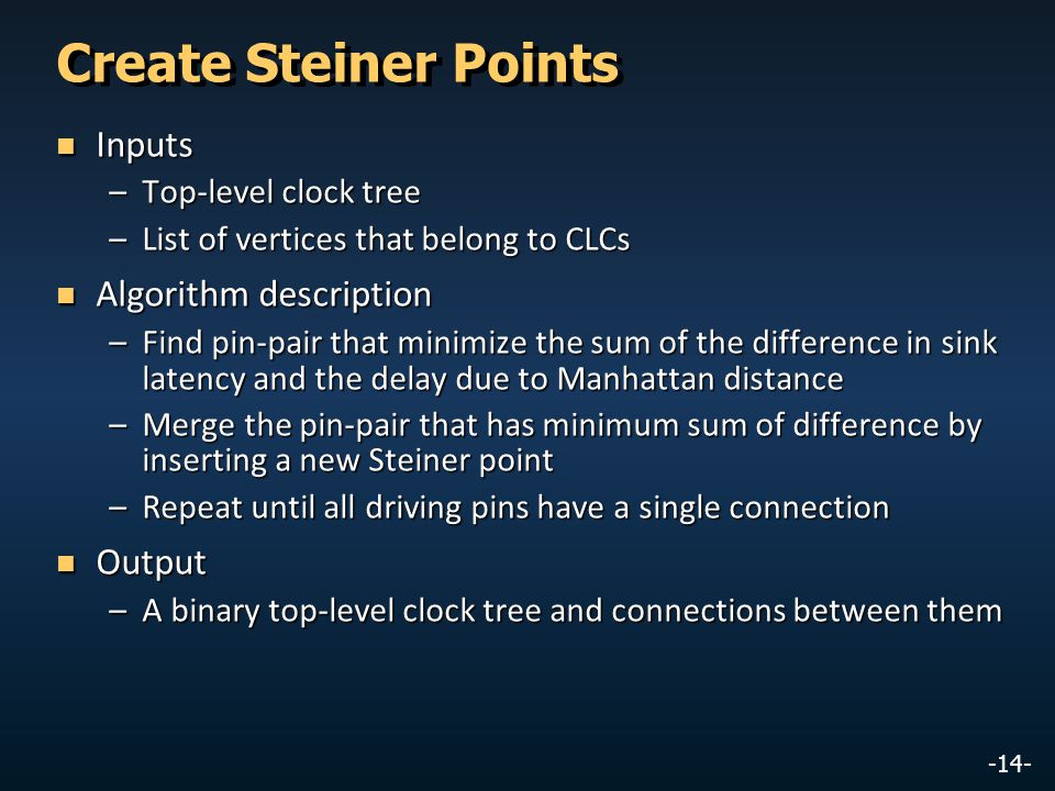-14- Create Steiner Points Inputs Inputs –Top-level clock tree –List of vertices that belong to CLCs Algorithm description Algorithm description –Find