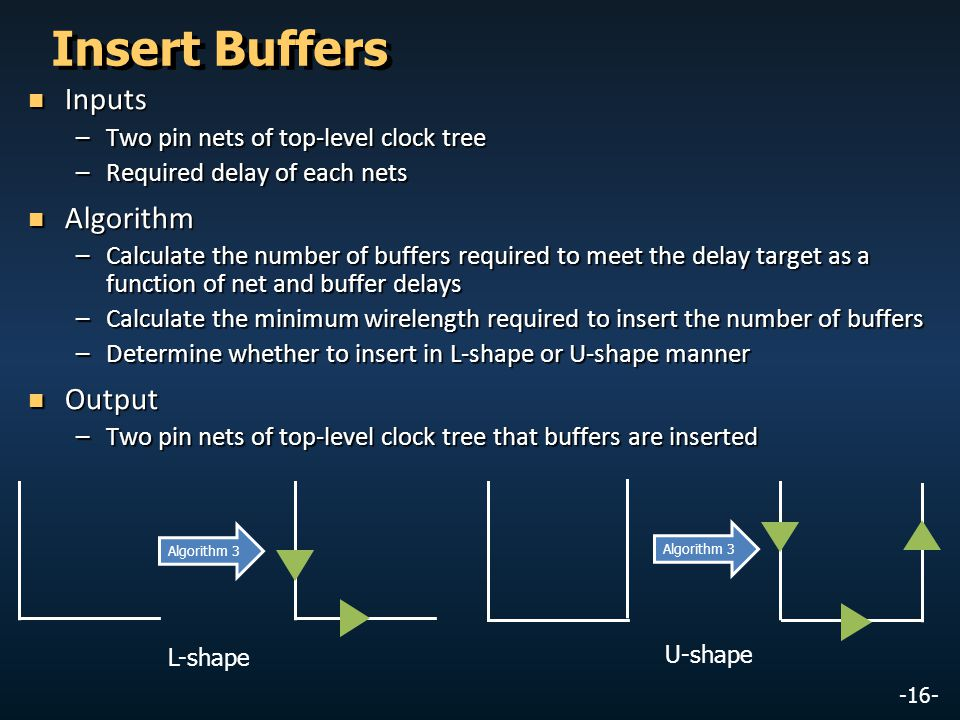 -16- Insert Buffers Inputs Inputs –Two pin nets of top-level clock tree –Required delay of each nets Algorithm Algorithm –Calculate the number of buff