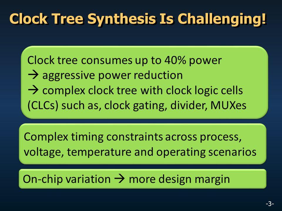 -3- Complex timing constraints across process, voltage, temperature and operating scenarios On-chip variation  more design margin Clock tree consumes