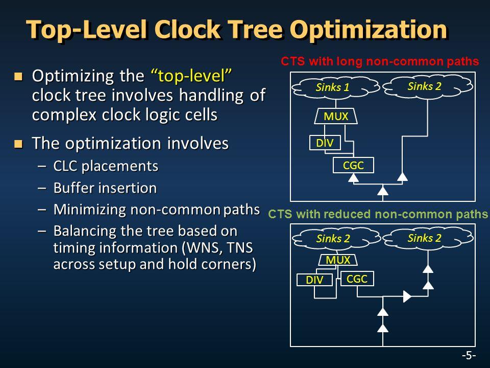 "-5- Top-Level Clock Tree Optimization Optimizing the ""top-level"" clock tree involves handling of complex clock logic cells Optimizing the ""top-level"""