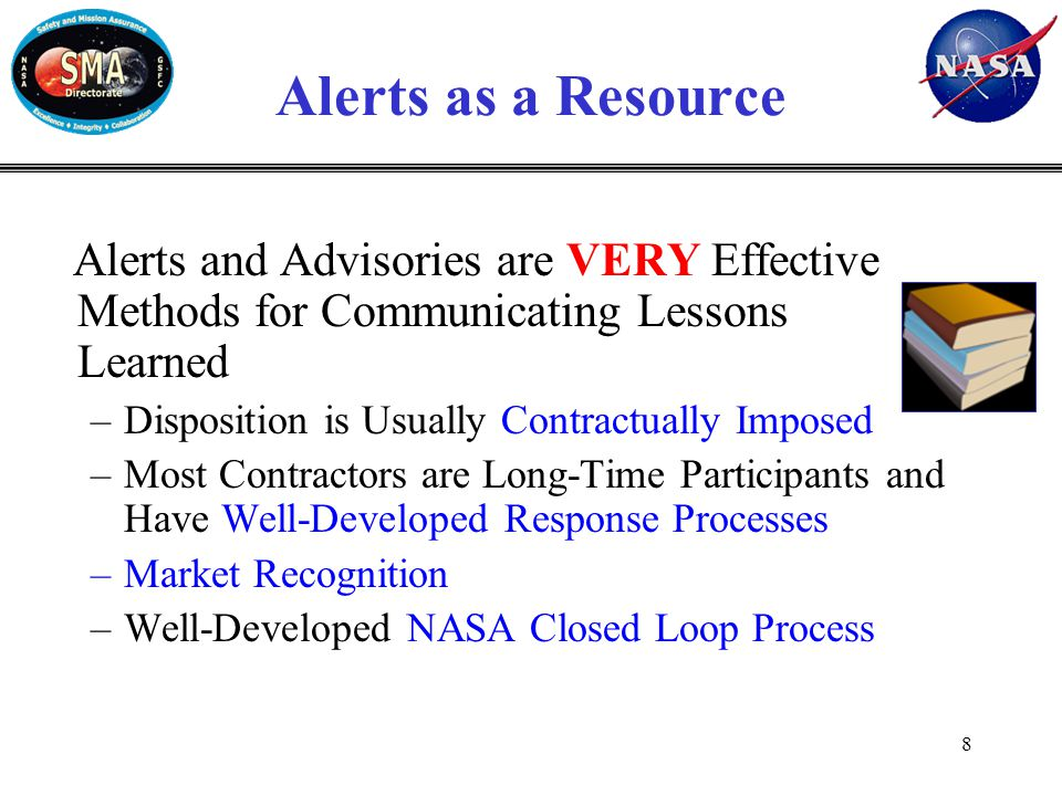 Alerts Reports and Metrics Alert Coordinator reports at Code 300 monthly, status report meetings Reports on close-out status for reportable alerts Reports include metrics, issues and new concepts Examples from November's pre-MSR follow 9