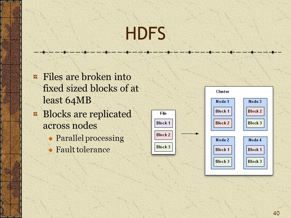 HDFS Files are broken into fixed sized blocks of at least 64MB Blocks are replicated across nodes Parallel processing Fault tolerance 40