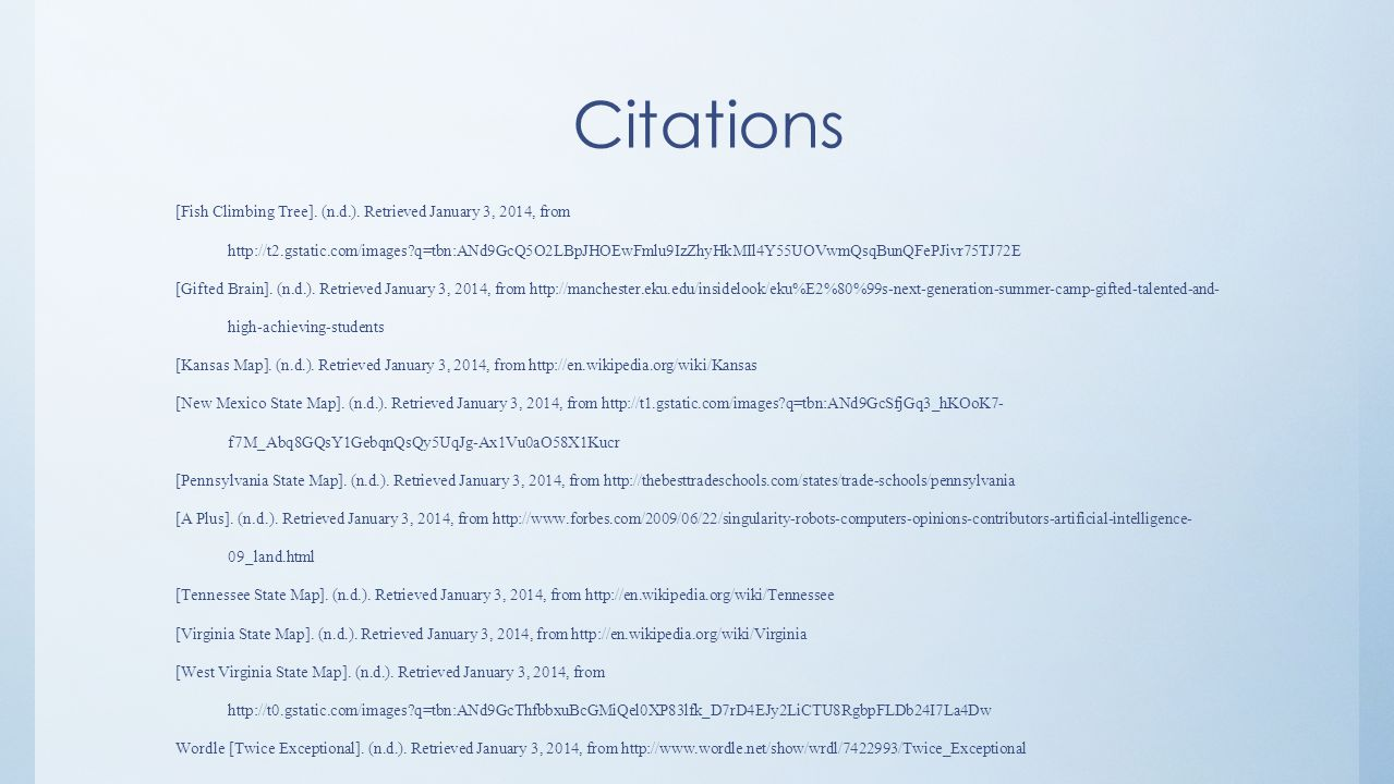 Citations [Fish Climbing Tree]. (n.d.).