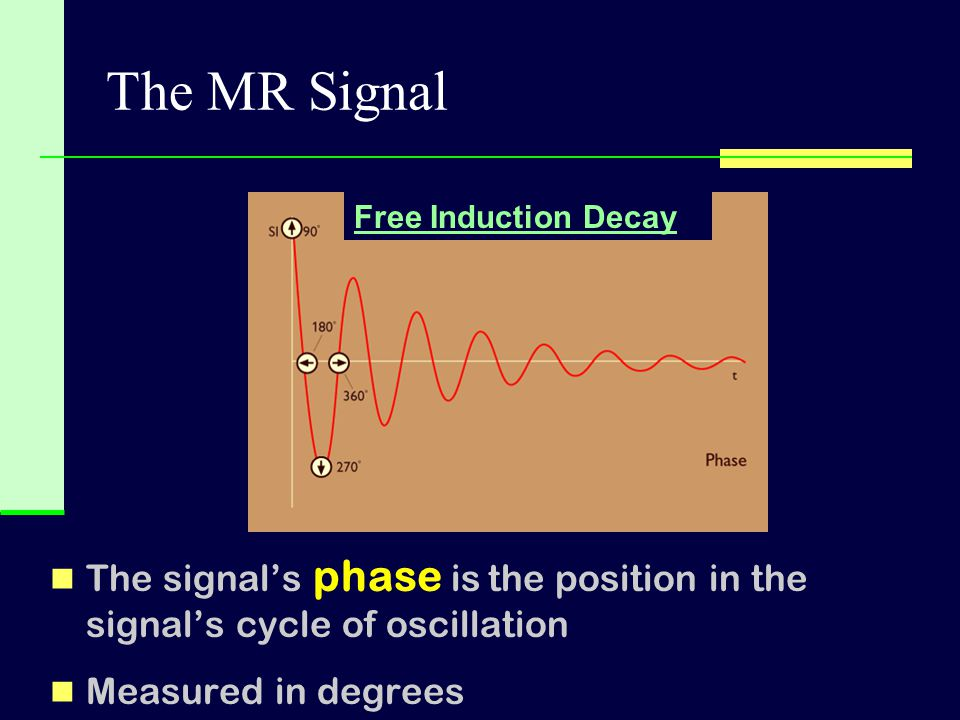The MR Signal The signal's phase is the position in the signal's cycle of oscillation Measured in degrees Free Induction Decay