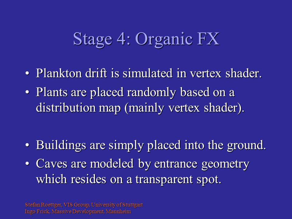 Stefan Roettger, VIS Group, University of Stuttgart Ingo Frick, Massive Development, Mannheim Stage 4: Organic FX Plankton drift is simulated in vertex shader.Plankton drift is simulated in vertex shader.