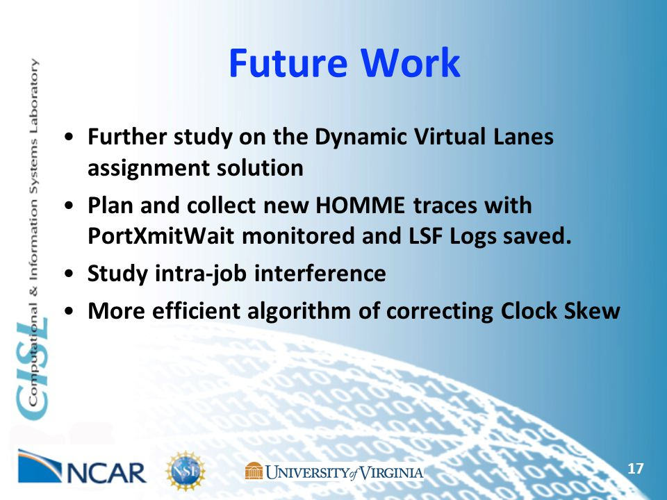 Further study on the Dynamic Virtual Lanes assignment solution Plan and collect new HOMME traces with PortXmitWait monitored and LSF Logs saved. Study