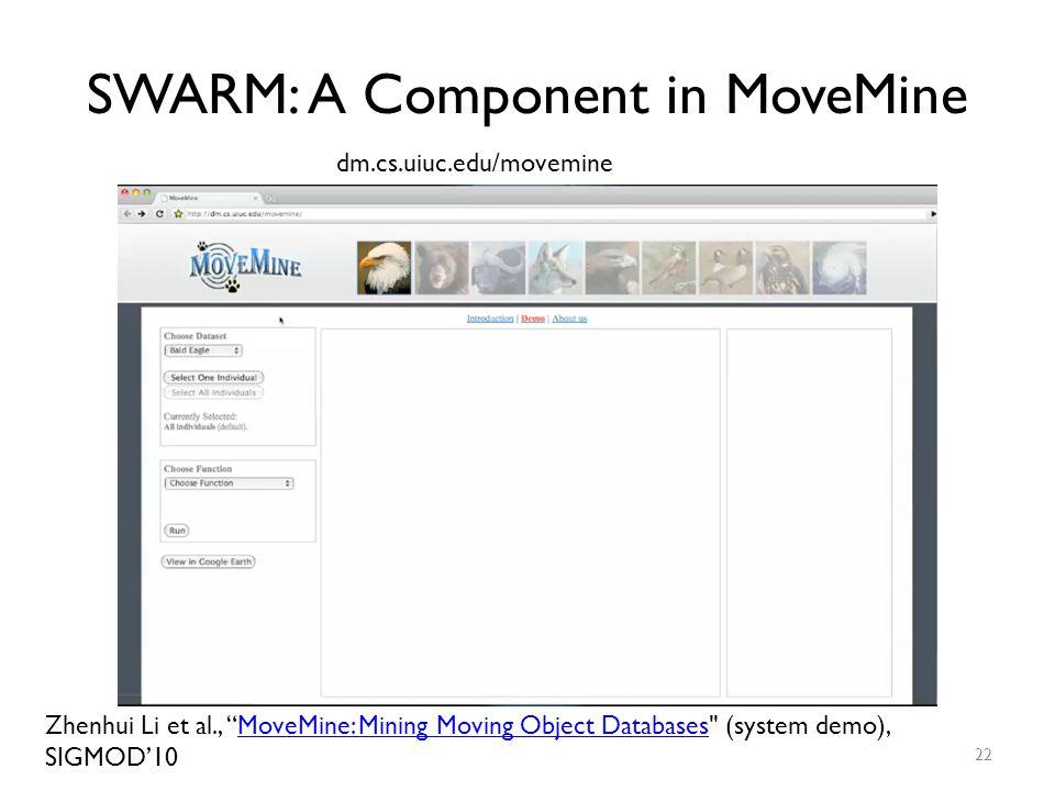 "SWARM: A Component in MoveMine 22 dm.cs.uiuc.edu/movemine Zhenhui Li et al., ""MoveMine: Mining Moving Object Databases"