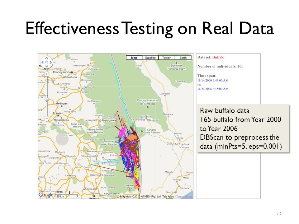 Effectiveness Testing on Real Data 23 Raw buffalo data 165 buffalo from Year 2000 to Year 2006 DBScan to preprocess the data (minPts=5, eps=0.001) Raw