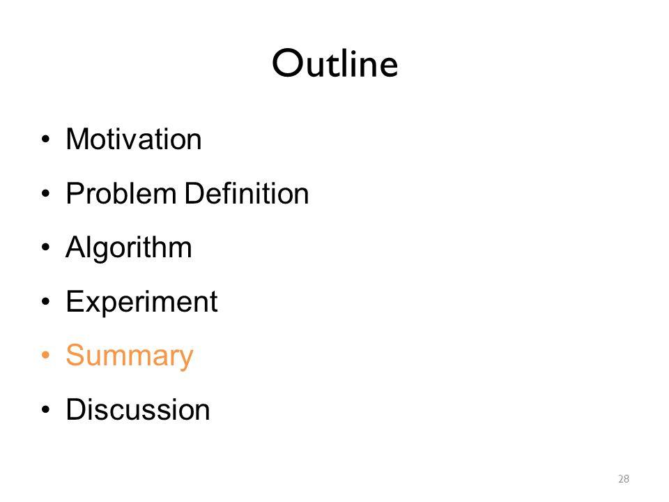 Outline Motivation Problem Definition Algorithm Experiment Summary Discussion 28