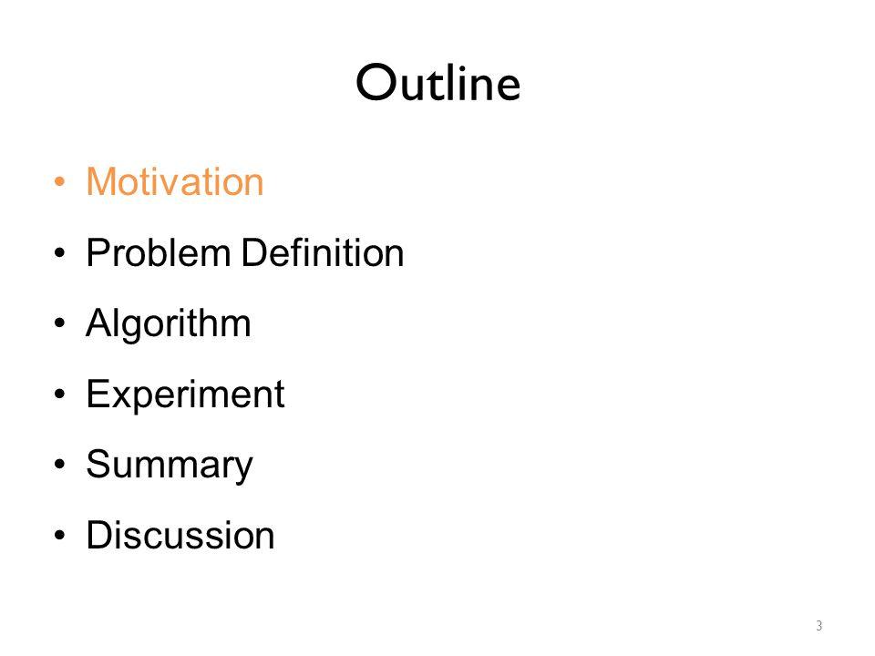 Outline Motivation Problem Definition Algorithm Experiment Summary Discussion 3
