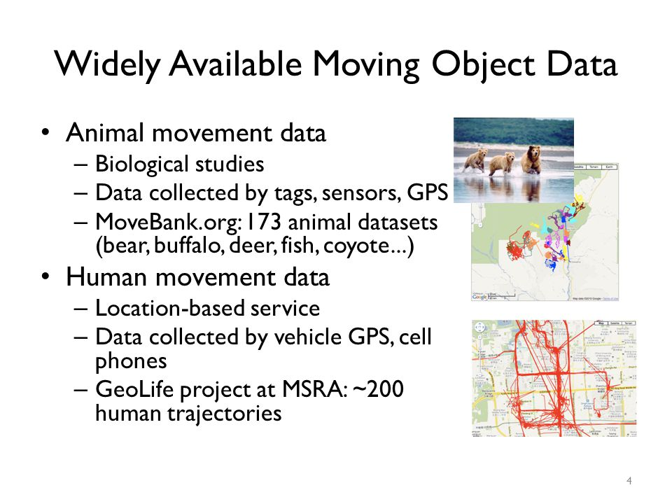 Widely Available Moving Object Data Animal movement data – Biological studies – Data collected by tags, sensors, GPS – MoveBank.org: 173 animal datase