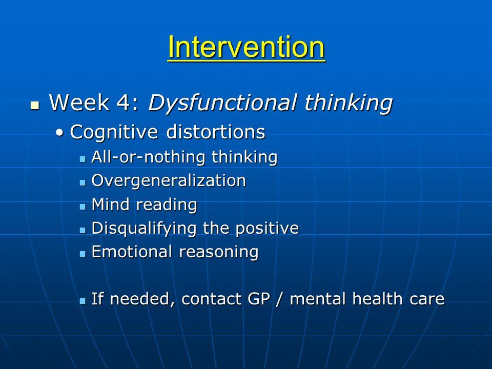 Intervention Week 4: Dysfunctional thinking Week 4: Dysfunctional thinking Cognitive distortionsCognitive distortions All-or-nothing thinking All-or-n