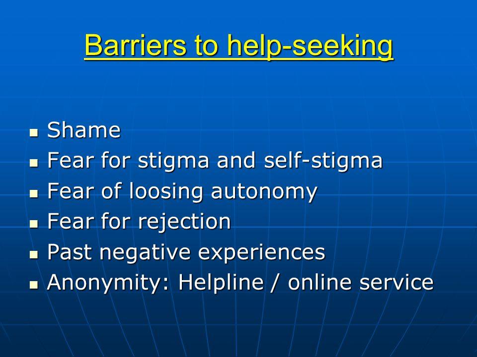 Barriers to help-seeking Shame Shame Fear for stigma and self-stigma Fear for stigma and self-stigma Fear of loosing autonomy Fear of loosing autonomy