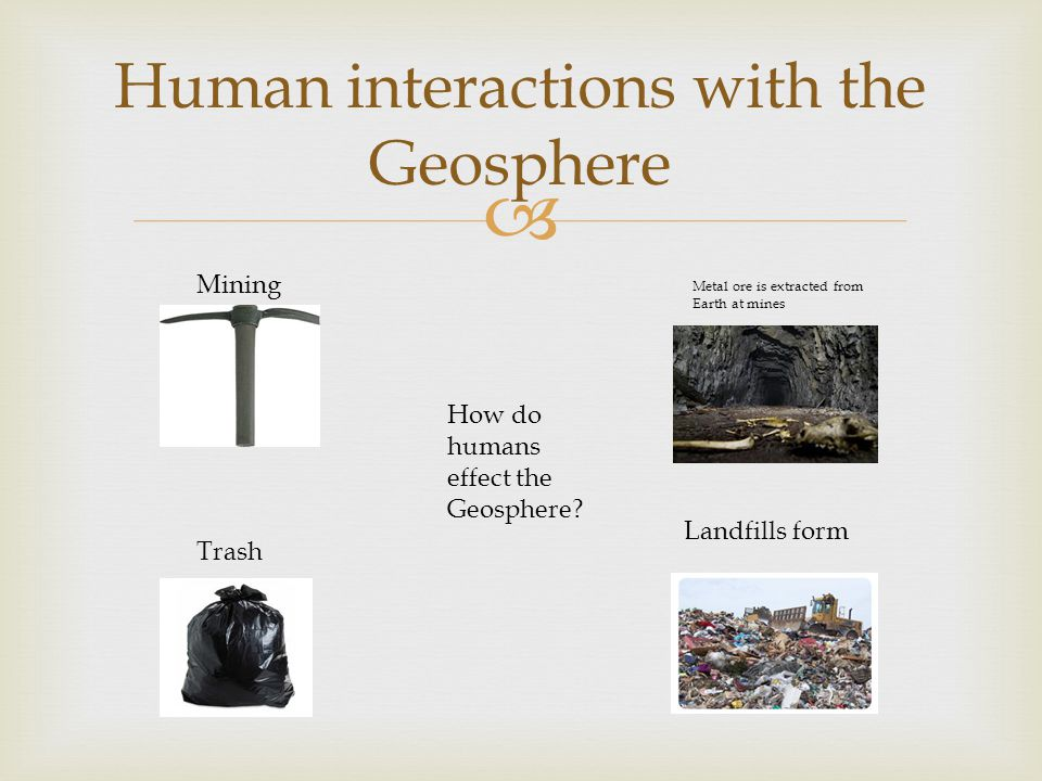  Human interactions with the Geosphere How do humans effect the Geosphere.