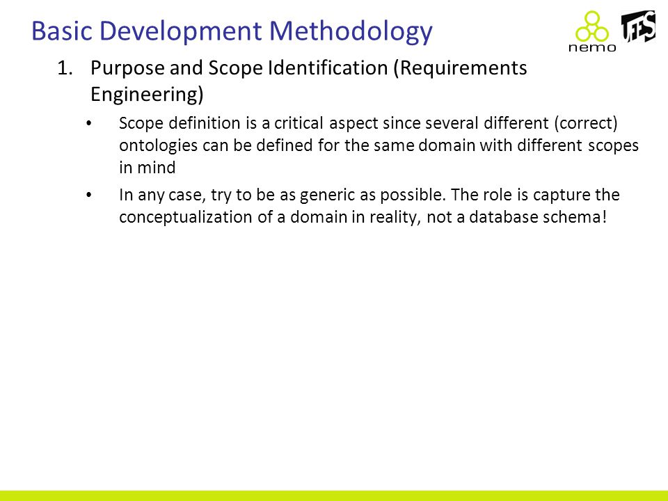 Basic Development Methodology 1.Purpose and Scope Identification (Requirements Engineering) Scope definition is a critical aspect since several differ