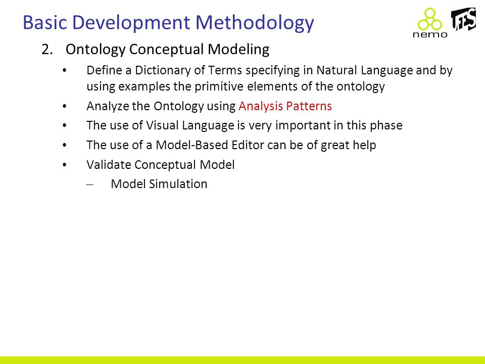 Basic Development Methodology 2.Ontology Conceptual Modeling Define a Dictionary of Terms specifying in Natural Language and by using examples the pri
