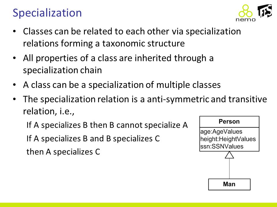 Specialization Classes can be related to each other via specialization relations forming a taxonomic structure All properties of a class are inherited