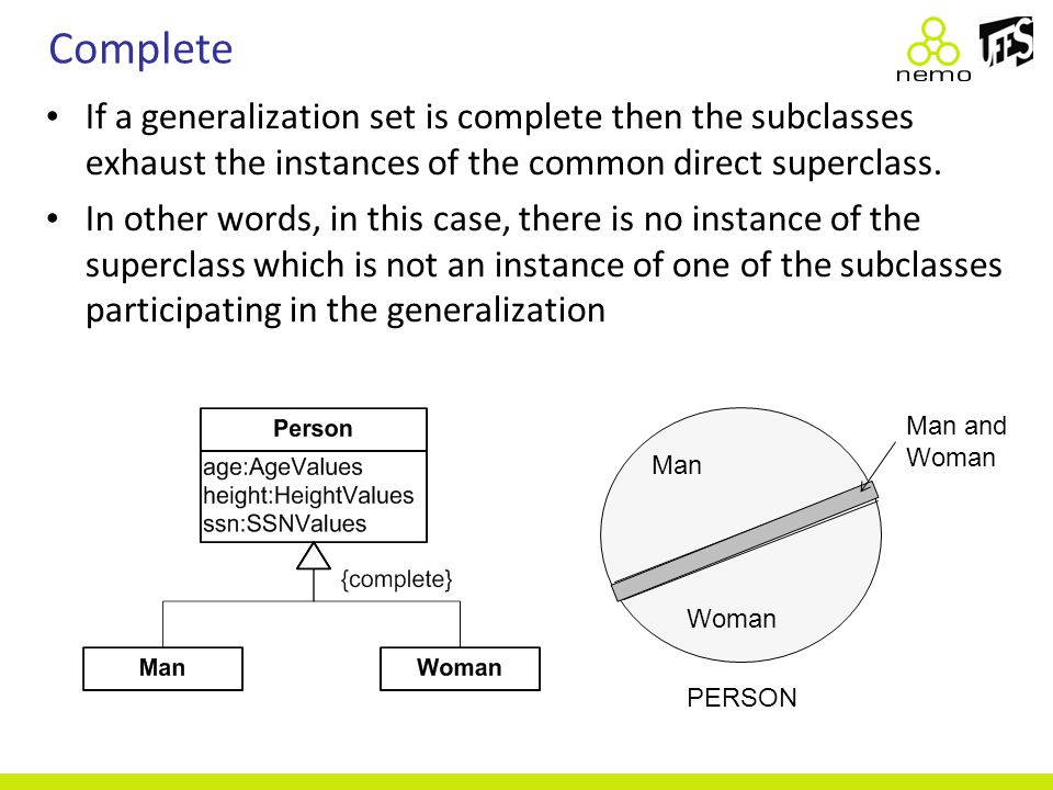 Complete If a generalization set is complete then the subclasses exhaust the instances of the common direct superclass. In other words, in this case,