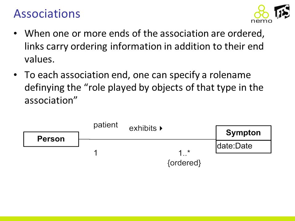 Associations When one or more ends of the association are ordered, links carry ordering information in addition to their end values. To each associati