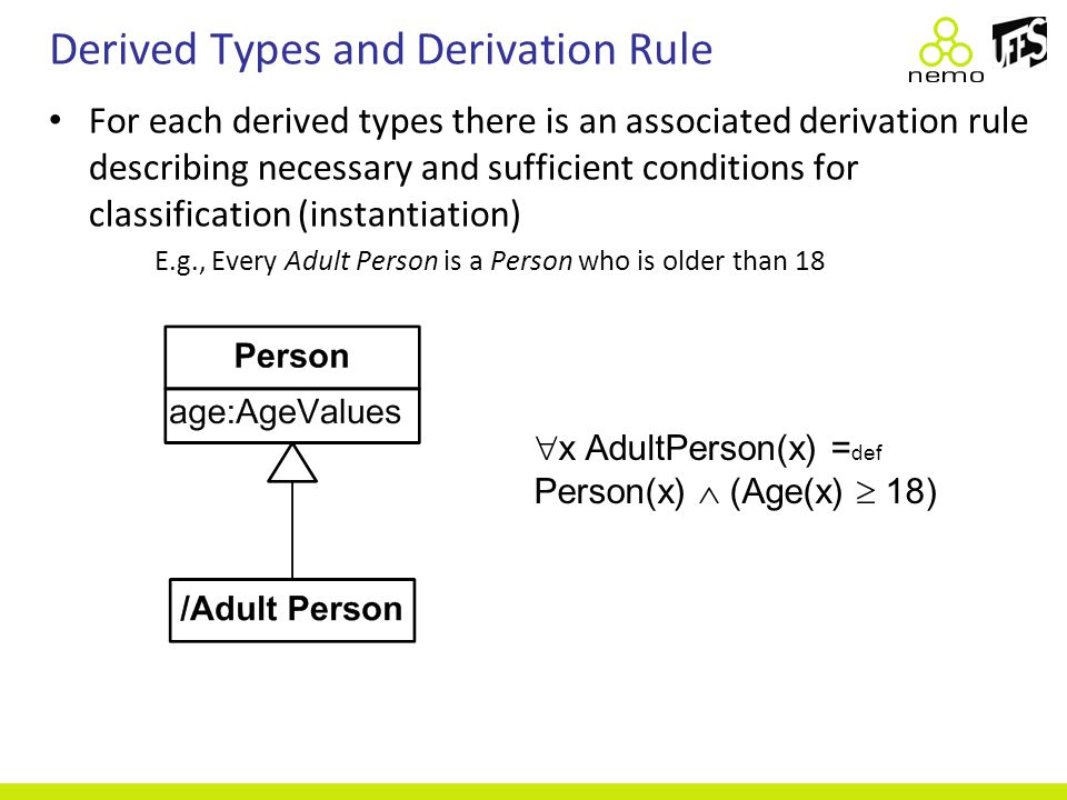 Derived Types and Derivation Rule For each derived types there is an associated derivation rule describing necessary and sufficient conditions for cla
