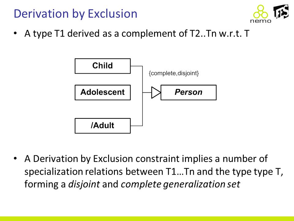 Derivation by Exclusion A type T1 derived as a complement of T2..Tn w.r.t. T A Derivation by Exclusion constraint implies a number of specialization r