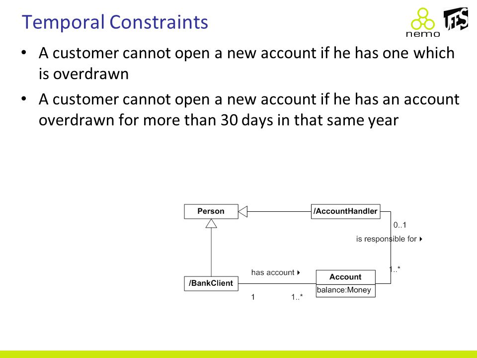 Temporal Constraints A customer cannot open a new account if he has one which is overdrawn A customer cannot open a new account if he has an account o