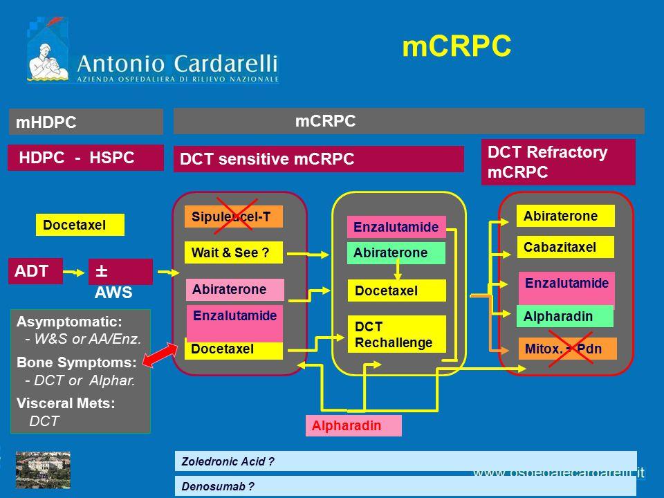 mHDPC mCRPC HDPC - HSPC DCT sensitive mCRPC DCT Refractory mCRPC mCRPC Cabazitaxel Enzalutamide Zoledronic Acid ? Alpharadin ± AWS ADT Mitox. + Pdn Ab