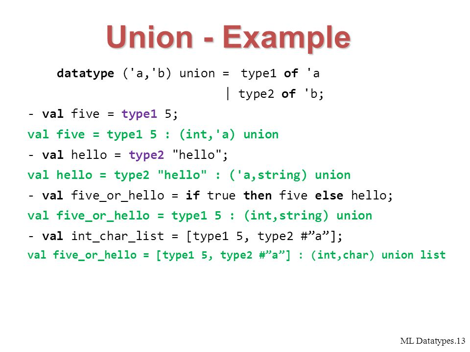 ML Datatypes.13 datatype ( a, b) union = type1 of a | type2 of b; -val five = type1 5; val five = type1 5 : (int, a) union -val hello = type2 hello ; val hello = type2 hello : ( a,string) union - val five_or_hello = if true then five else hello; val five_or_hello = type1 5 : (int,string) union - val int_char_list = [type1 5, type2 # a ]; val five_or_hello = [type1 5, type2 # a ] : (int,char) union list Union - Example