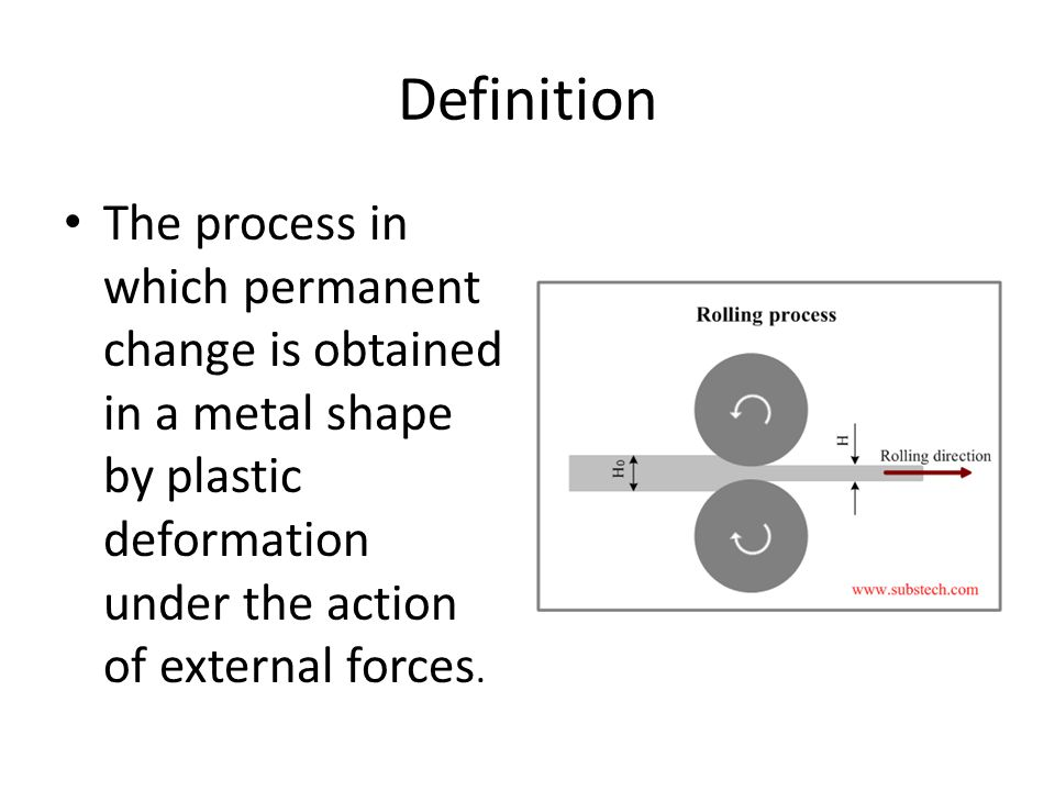 Definition The process in which permanent change is obtained in a metal shape by plastic deformation under the action of external forces.