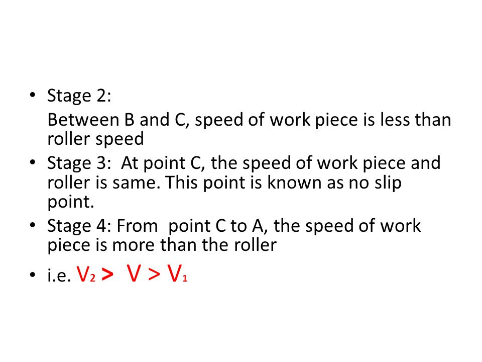 Stage 2: Between B and C, speed of work piece is less than roller speed Stage 3: At point C, the speed of work piece and roller is same. This point is