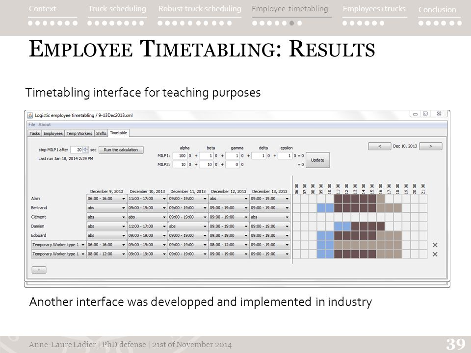 E MPLOYEE T IMETABLING : R ESULTS Anne-Laure Ladier | PhD defense | 21st of November 2014 39 Timetabling interface for teaching purposes Another interface was developped and implemented in industry ContextTruck schedulingEmployee timetablingEmployees+trucks Conclusion Robust truck scheduling
