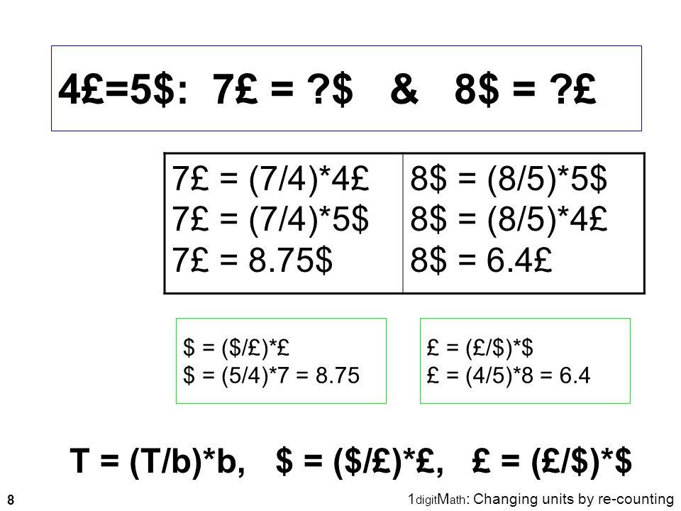 8 4£=5$: 7£ = ?$ & 8$ = ?£ T = (T/b)*b, $ = ($/£)*£, £ = (£/$)*$ $ = ($/£)*£ $ = (5/4)*7 = 8.75 £ = (£/$)*$ £ = (4/5)*8 = 6.4 1 digit M ath : Changing