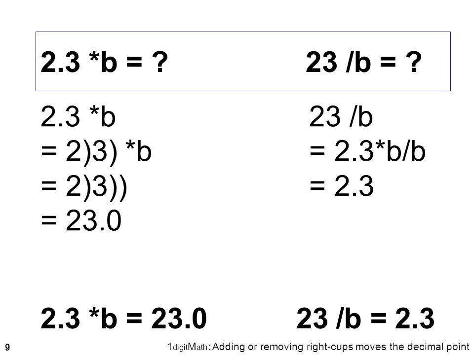 9 2.3 *b = ? 23 /b = ? 2.3 *b = 2)3) *b = 2)3)) = 23.0 2.3 *b = 23.0 23 /b = 2.3 1 digit M ath : Adding or removing right-cups moves the decimal point