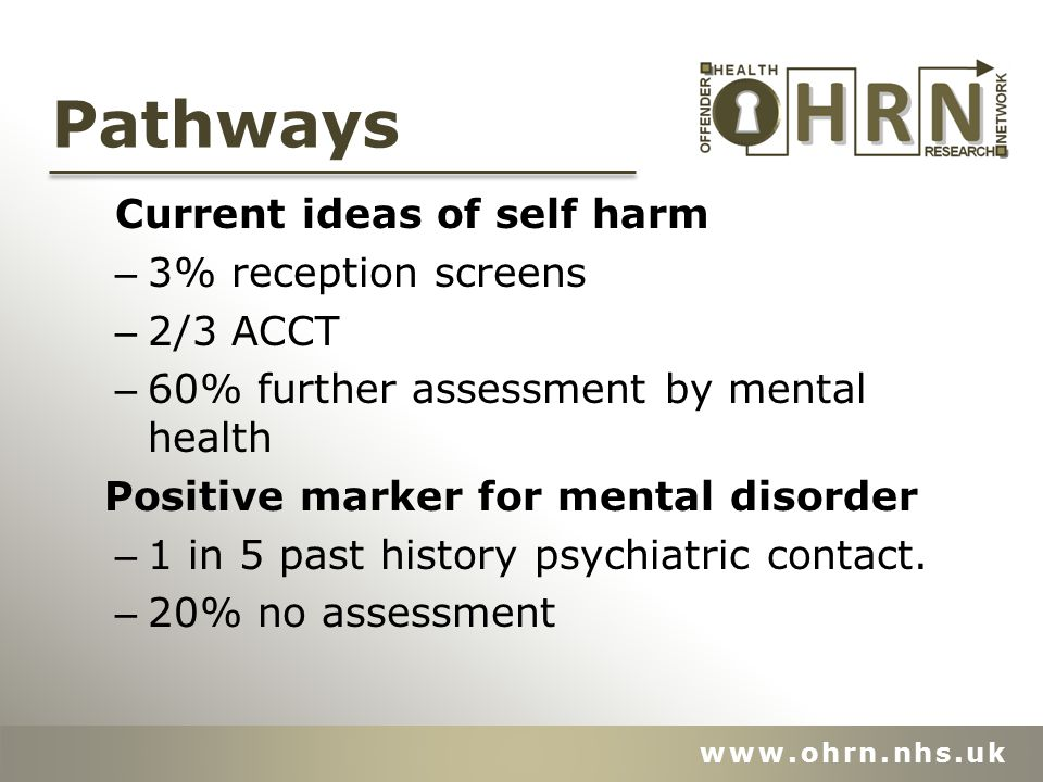 Pathways Current ideas of self harm – 3% reception screens – 2/3 ACCT – 60% further assessment by mental health Positive marker for mental disorder – 1 in 5 past history psychiatric contact.