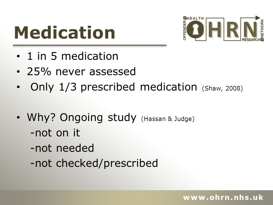 Medication 1 in 5 medication 25% never assessed Only 1/3 prescribed medication (Shaw, 2008) Why.