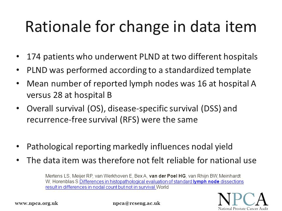 www.npca.org.uk npca@rcseng.ac.uk Rationale for change in data item 174 patients who underwent PLND at two different hospitals PLND was performed acco