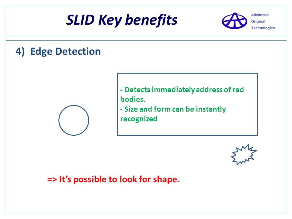 SLID Key benefits 3)Edge detection - Detects immediately address of red bodies. - Size and form can be instantly recognized
