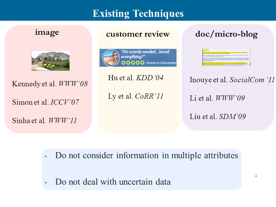 Challenges Design a summarization framework for  Multi-attribute Data  Uncertain/Probabilistic Data.